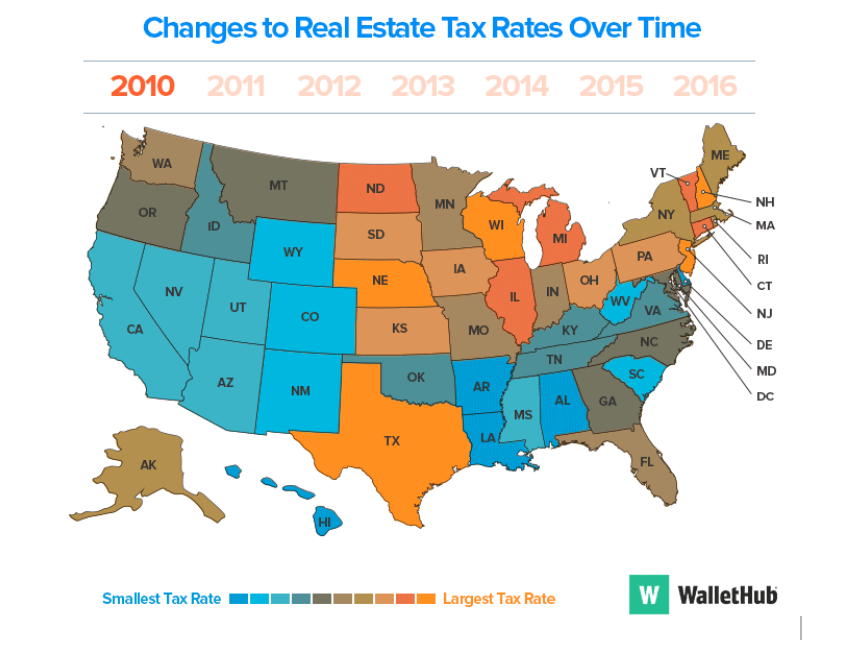 Map of USA and Real Estate Tax Rates